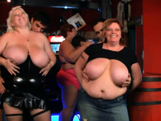 Watch very hot group bbw party in the bar