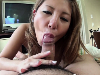Sexy blonde Asian babe sucking in POV