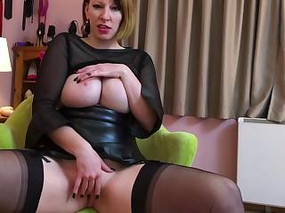 German Nylon Queen Anett Larman in stockings solo