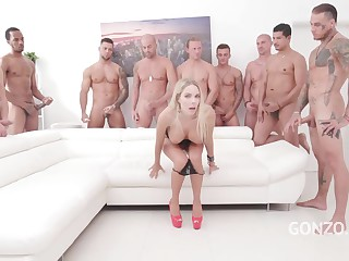 Hot blonde in shoes with high heels, Florane Russell got her tight ass hole properly gangbanged