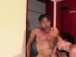 german horny mom seduces guy in public toilet