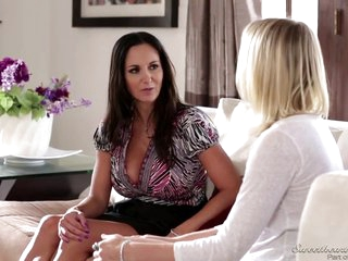 Seductive brunette milf is making love with a lesbian blonde, while they are alone at home
