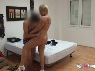 Chubby spanish milf fucks a young guy she met on the Internet