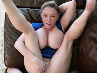 A big tits blonde stepmom titjobs then fucks her stepson