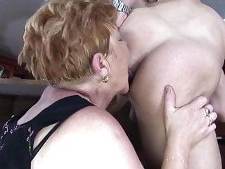 Horny grannies fuck at the bar