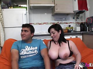 Estrella and her melons teach her boy about porn