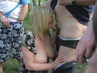 A blonde Busty Milf-Slut Outdoors in the Summertime 2